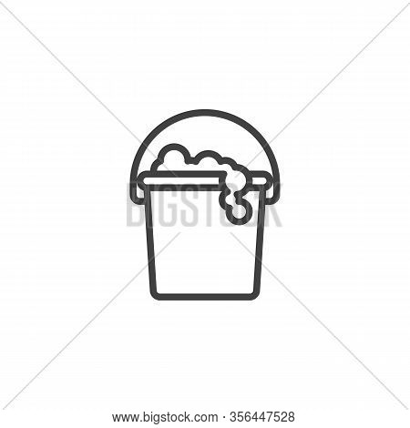 Mop Bucket With Foam Soap Line Icon. Linear Style Sign For Mobile Concept And Web Design. Bucket And
