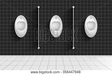 Men Lavatory, Wc Realistic Vector Illustration. Public Male Toilet, Contemporary Restroom Interior W