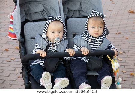 Adorable Twin Baby Girls Sitting In Stroller, Baby Carriage