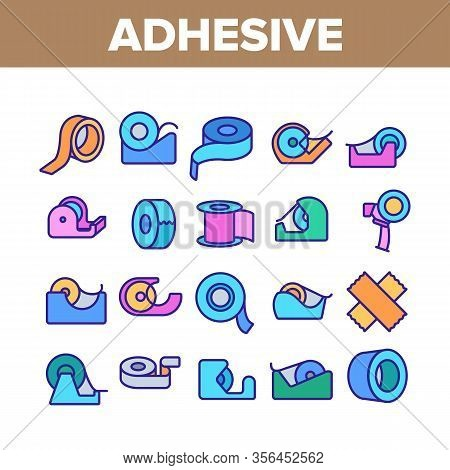Adhesive Tape Scotch Collection Icons Set Vector. Medicine Plaster Bandage, Roll Adhesive Tool, Offi