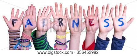 Children Hands Building Word Fairness, Isolated Background