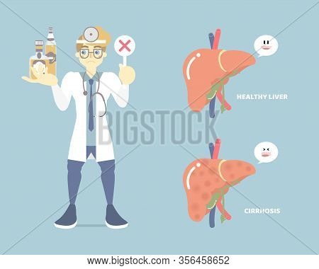 Male Doctor Holding Bottle Of Alcohol And Liver Anatomy, Health Care Disease, Alcoholic, Liver Cirrh