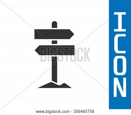 Grey Road Traffic Sign. Signpost Icon Isolated On White Background. Pointer Symbol. Street Informati