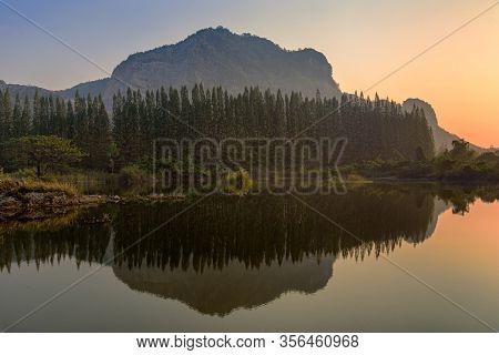 Beautiful View Of Landscape With Reflection On Lake At Khao E Bid