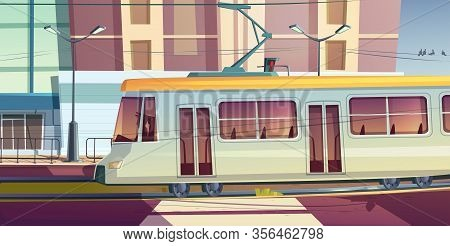 Tram Riding On City Street. Trolley Car With Driver On Cityscape Background, Road With Rails, Buildi