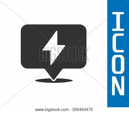 Grey Lightning Bolt Icon Isolated On White Background. Flash Icon. Charge Flash Icon. Thunder Bolt.