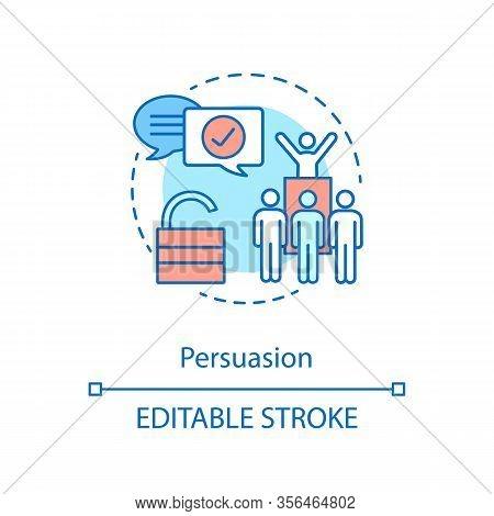 Persuasion Concept Icon. Leading Abilities. Public Speaking. Team Building. Leader Qualities. Leader