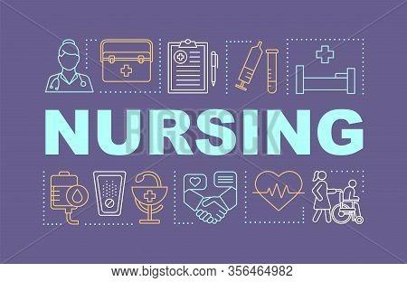 Nursing Word Concepts Banner. Medical Service. Hospital, Inpatient Treatment. Presentation, Website.