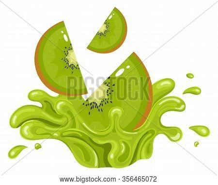 Kiwi Fruit Juice. Fresh Kiwifruit Splash Isolated On White Background. Vector Illustration For Any D