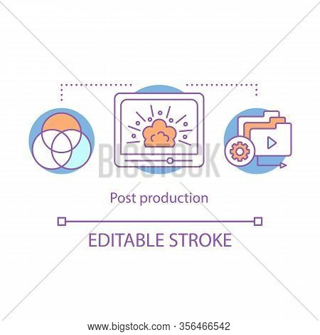Video Post Production Concept Icon. Video Editing Idea Thin Line Illustration. Film Making Process.