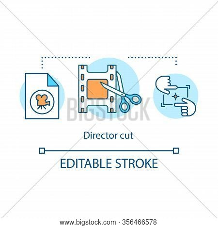Director Cut Concept Icon. Film Editing Idea Thin Line Illustration. Cinematography. Movie Final Cut