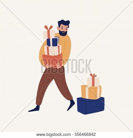 Funny Cartoon Bearded Man Carrying Heap Of Gift Box Vector Flat Illustration. Positive Male Holding