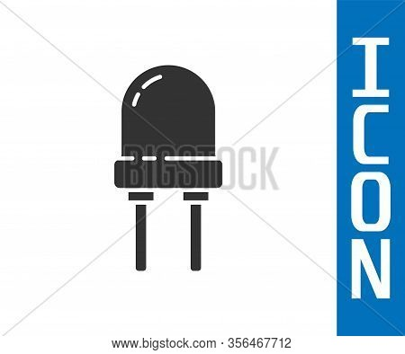 Grey Light Emitting Diode Icon Isolated On White Background. Semiconductor Diode Electrical Componen