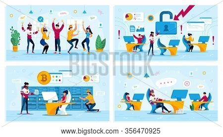 Corporate Party, Network Security, Bitcoin Trading, Employees Motivation Trendy Flat Vector Concepts