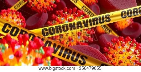 Coronavirus Covid-19 Influenza Under The Microscope Background. Flu Outbreak And Coronaviruses Influ