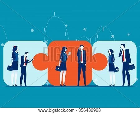 Business Team Connecting . Concept Business Cooperation Vector Illustration, Puzzle Elements