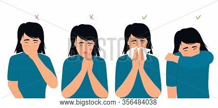 Girl Sneezes And Coughs Right And Wrong. The Symptoms Of Colds And Flu. Respiratory Disease. Runny N
