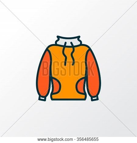 High-round Collar Icon Colored Line Symbol. Premium Quality Isolated Sweatshirt Element In Trendy St