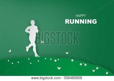 Man Running Healthy Lifestyle In Green Park.minimal Healthy Concept. Running. Exercise. Paper Art St