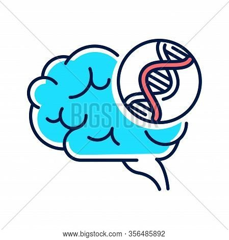 Genetic Predisposition Dementia Line Color Icon. The Disease Is Inherited. Sign For Web Page, Mobile