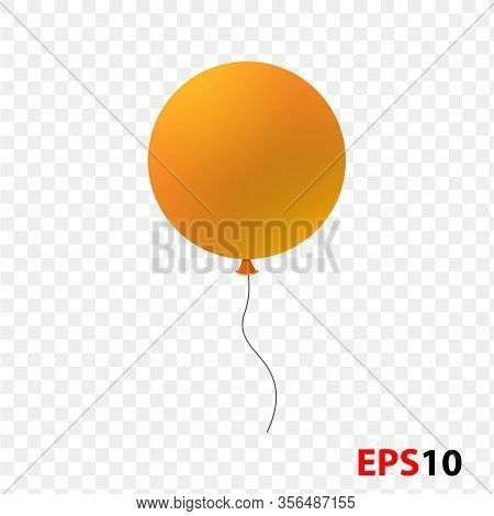 Balloon Realistic Orange Isolated On A Transparent Background.design Element For Celebration, Kids D