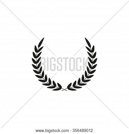 Black Silhouette Circular Laurel Foliate, Wheat And Oak Wreaths Depicting An Award, Achievement, Her