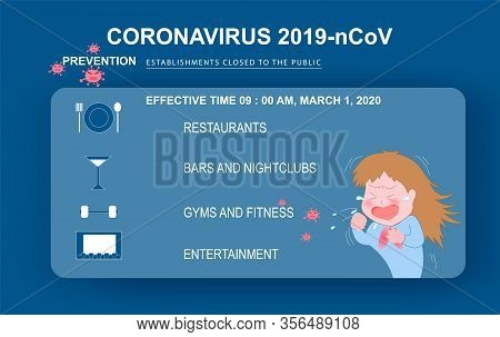 Coughing Cartoon Character Of Coronavirus (covid-19 Or 2019-ncov).prevention Establishments Closed T