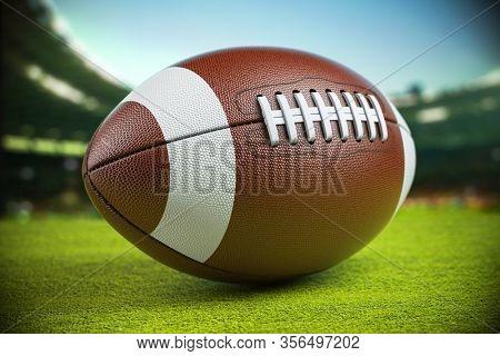 Ball on american football arena. 3d illustration