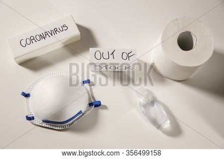 Coronavirus Essentials Out Of Stock Concept, Worldwide Shortage On Basic Necessities, Personal Masks