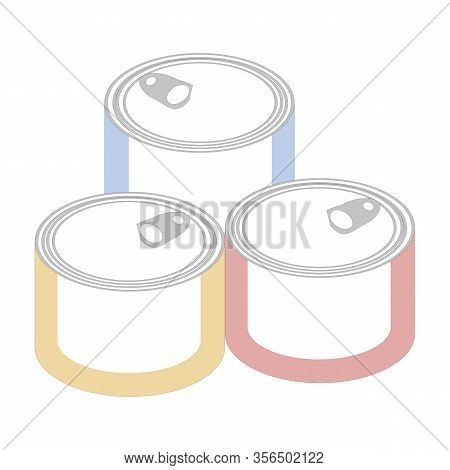 Vector Painting Art, Canned Food, Cylinder Alu Containers.