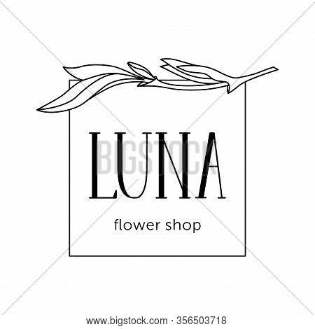Elegant Logo For Flower Shop. Emblem For Flower And Plant Shop Luna