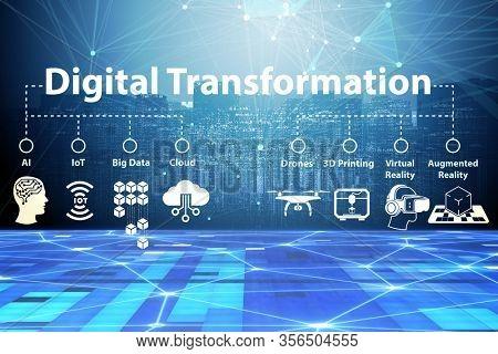 Digital transformation concept 3d rendering