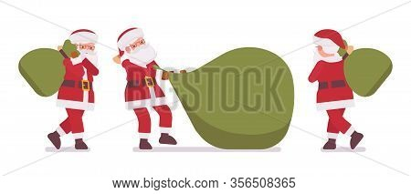 Santa Claus, Father Christmas Carrying Heavy Gift Bag. Portly, Jolly, White Bearded Cute Man Wearing