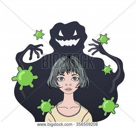 Coronavirus Phobia. Big Virus Monster Attacks Teenage Girl With Viruses Flying Around. 2019-ncov, Co
