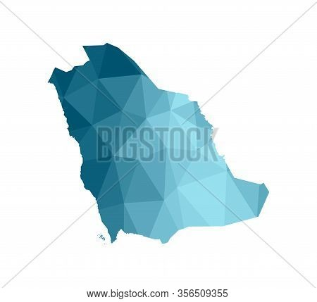 Vector Isolated Illustration Icon With Simplified Blue Silhouette Of Saudi Arabia Map. Polygonal Geo