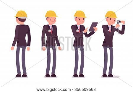 Architect Man, Professional Creating Design For Buildings Standing. Male Worker With Tablet, Caliper