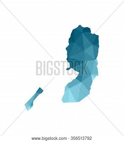 Vector Isolated Illustration Icon With Simplified Blue Silhouette Of State Of Palestine Map (west Ba