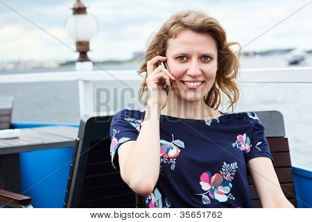 Attractive Woman Sitting With Telephone, Phone Calling