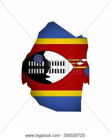 Vector Illustration With National Flag And Map (simplified) Shape) Of Eswatini (swaziland). Volume S