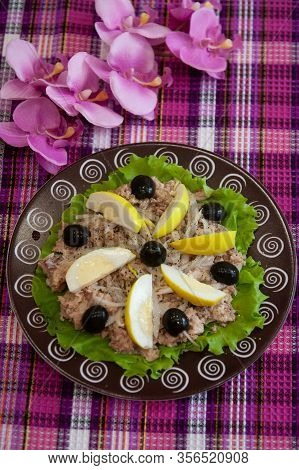 Ready Cold Dish: San Isidoro Salad With Tuna, Eggs And Vegetables On A Brown Plate - Spanish Cuisine