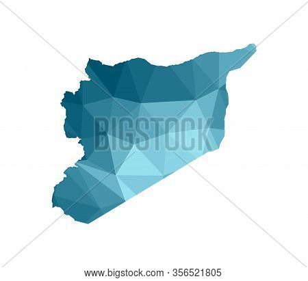 Vector Isolated Illustration Icon With Simplified Blue Silhouette Of Syria (syrian Arab Republic) Ma