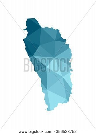 Vector Isolated Illustration Icon With Simplified Blue Silhouette Of Commonwealth Of Dominica Map. P