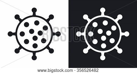 Coronavirus Disease 2019 Or Covid-19 Icon. Minimalistic Two-tone Vector Illustration On Black And Wh