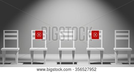Social Distance Concept. Keep Spaced Between Each Chairs Make Separate For Social Distancing, Increa