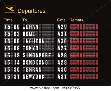 Flight Cancellation. Flight Information Digital Screen Board Showing Status Flight Cancelled. Flight