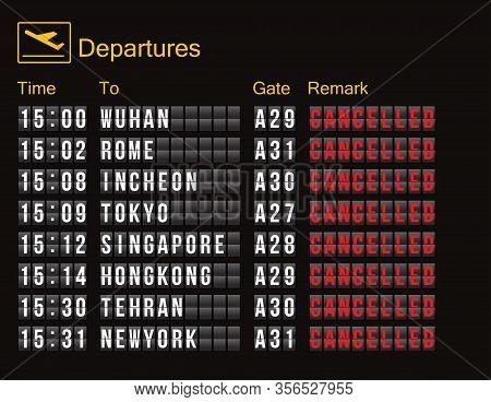 Flight Cancellation. Flight Information Digital Screen Board Showing Status Flight Cancelled. Flight