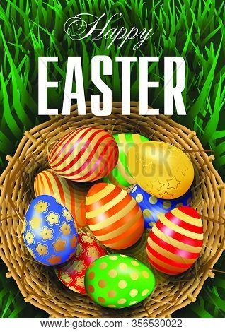 Realistic Happy Easter Greeting Card, Flyer, Poster Or Banner Vector Template With Multicolored 3d E