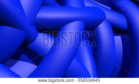 Abstract Background With Heap Or Hank Of Plastic Rubber Pipes Or Bands. 3d Illustration
