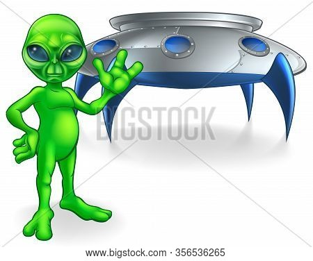 A Little Green Man Alien Cartoon Character Waving In Front Of His Flying Saucer Spaceship