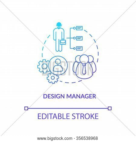 Design Manager, Workshop Executive Concept Icon. Studio Work Control Idea Thin Line Illustration. Wo